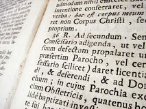 Ancient Latin. Ancient roman latin text in a theological book Royalty Free Stock Images