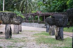 Latte Stones at Triangle Park in Guam stock photos