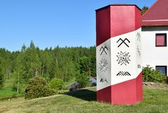Ancient Latvian symbols: the sign of Jumis, sign of Auseklis and Māra zigzag line. The Sign of Jumis - symbolizes fertility and prosperity. The Sign of stock image