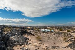 Ancient Lava Bed with rain pond along route 66 royalty free stock photos