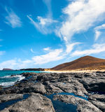 Ancient lava stream in Graciosa Royalty Free Stock Images