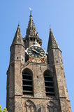 Ancient leaning tower of Old Church in Leiden Stock Images