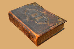 Ancient Leather Bound Holy Bible. Isolated image of an Ancient Leather Bound Holy Bible with Brass clasp and decoration Royalty Free Stock Images