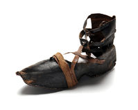 Ancient leather shoe Stock Photography