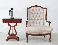 Ancient leather sofa and telephone Royalty Free Stock Image