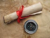 Ancient letter and compass Stock Photography