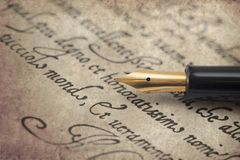 Ancient letter from 16th century with elegant fountain pen royalty free stock images