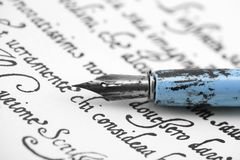 Ancient letter from 16th century with old blue pen royalty free stock images