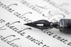 Ancient letter from 16th century with old pen royalty free stock photo