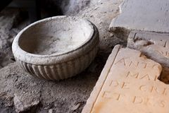 Ancient letters and stone inscription. Royalty Free Stock Images
