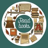 Ancient library shop or store read books literature vector illustration