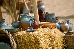 Ancient life. Pottery and wooden ware depicting ancient mid-eastern domestic life Stock Photo