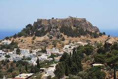 Ancient Lindos on Rhodes. Ancient town Lindos on Rhodes, Greece Royalty Free Stock Photos