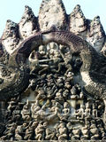 Ancient Lintel Stone Carving at Angkor Wat Stock Photography