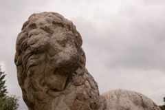 Ancient lion sculpture Royalty Free Stock Images