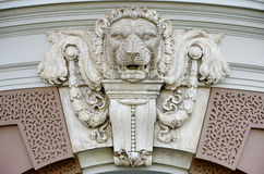 Ancient lion sculpture decorate Stock Photo