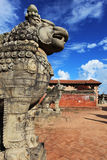 Ancient lion sculpture at durbar square,bhaktapur Stock Photography