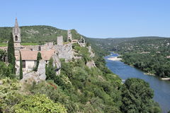 Ancient little village overlooking Ardèche river Royalty Free Stock Images