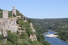 Ancient little village overlooking Ardèche river Stock Photography