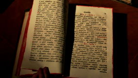 Ancient liturgical book stock footage