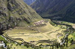 Ancient Llactapata Inca Ruins in Urubamba valley. Ancient Llactapata Inca Ruins on the Inca Trail situated at the bottom of Urubamba valley with river Royalty Free Stock Photo
