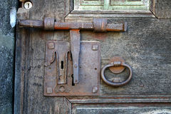 Ancient lock. In Catalonia,Spain royalty free stock photography
