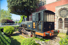 Ancient locomotive on Istanbul`s Sirkeci train station. Turkey Royalty Free Stock Photography