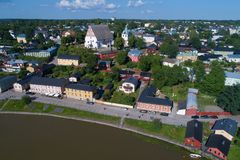 Ancient Lutheran cathedral in a city landscape aerial photography. Porvoo, Finland. Ancient Lutheran cathedral in a city landscape in the sunny July afternoon royalty free stock image