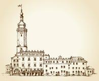 Ancient Lviv city hall. Vector cityscape Stock Photo