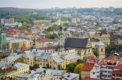 Ancient Lviv view from height, tilt-shift. Stock Photos