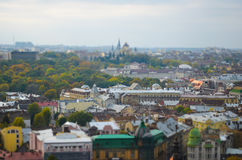Ancient Lviv view from height, tilt-shift. Royalty Free Stock Images