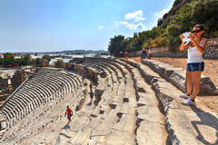 Ancient Lycian Myra Greek Theatre Ruins At Turkey Demre. Royalty Free Stock Photos