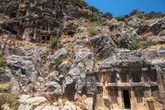 Ancient lycian Myra rock tomb. Ruins at Turkey Demre Royalty Free Stock Photography
