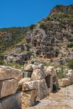Ancient lycian Myra rock tomb. Ruins at Turkey Demre Stock Photos