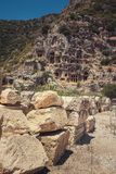 Ancient lycian Myra rock tomb. Ruins at Turkey Demre Stock Photo