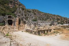 Ancient lycian Myra rock tomb. Ruins at Turkey Demre Stock Photography