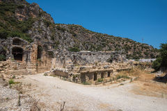 Ancient lycian Myra rock tomb Royalty Free Stock Photo