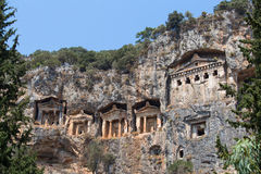 Ancient Lycian Rock Tombs in Fethiye, Turkey Stock Photo