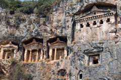 Ancient Lycian Rock Tombs in Fethiye, Turkey Stock Photography