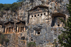 Ancient Lycian Rock Tombs in Fethiye, Turkey Stock Image
