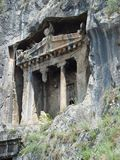 Ancient Lycian tomb of Amintas 4th century near the city of Fe. Thiye. Turkey Royalty Free Stock Photography
