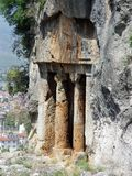 Ancient Lycian tomb near the city of Fethiye. Turkey Stock Image