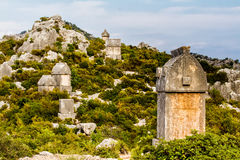 The ancient Lycian tombs of the cemetery in Simena. Royalty Free Stock Photography