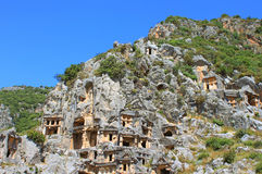 Ancient lycian tombs in Myra, Turkey Royalty Free Stock Images