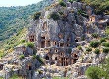 Ancient lycian tombs Stock Photos