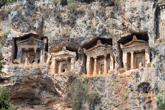 Ancient Lycian tombs and ruins of Caunos, Dalyan, Turkey Royalty Free Stock Photos