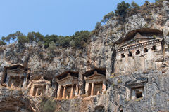 Ancient Lycian tombs and ruins of Caunos, Dalyan, Turkey Royalty Free Stock Images