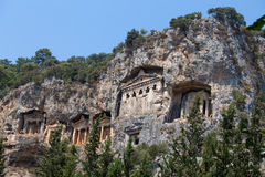Ancient Lycian tombs and ruins of Caunos, Dalyan, Turkey Royalty Free Stock Image