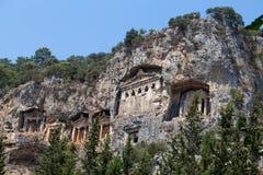 Ancient Lycian tombs and ruins of Caunos, Dalyan, Turkey Royalty Free Stock Image