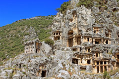 Ancient lycian tombs, Turkey royalty free stock photo